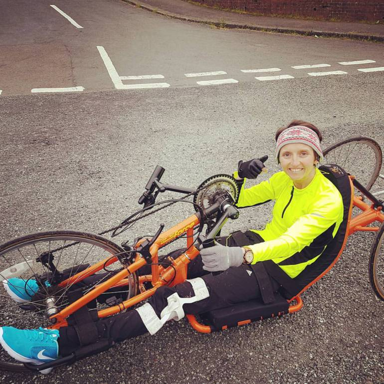 Tina on the road on her handcycle